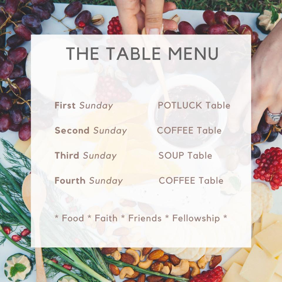 Potluck Hilversum Table menu the Garden Church